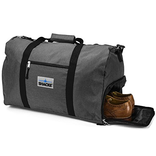 Shacke's Travel Duffel Express Weekender Bag - Carry On Luggage with Shoe Pouch (Dark Gray)