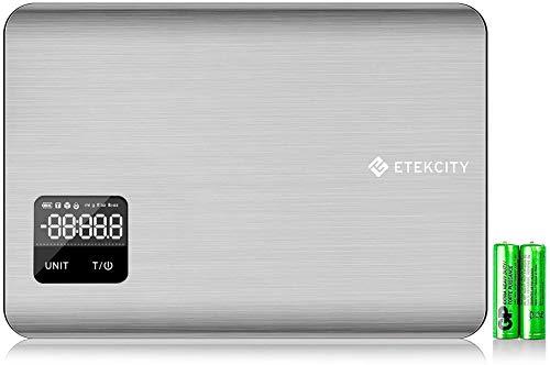 Etekcity Balance Cuisine Électronique 5kg/5L, Écran LCD, Tactiles Sensibles, Indicateur de la Batterie, Plateforme Infinity de 100% d'Acier Inoxydable Soyeux, Haute Précision, Piles Fournies, Argent