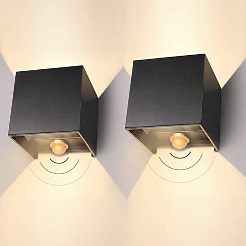 LEDMO LED Wandleuchte Aussen 12W IP65 Außenwandleuchte mit Bewegungsmelder 2er Pack Aussenlampe Led 3000K Wandlampe Mit Einstellbar Abstrahlwinkel LED Wandbeleuchtung Innen/Außen