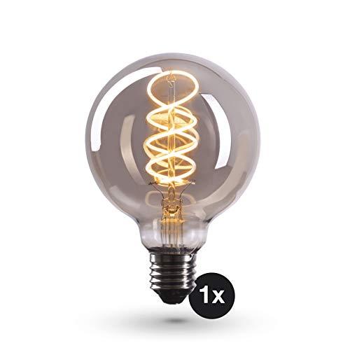 CROWN LED Smoky Edison Glühbirne E27 Fassung in Rauchglas Optik, Dimmbar, 4W, 2200K, Warmweiß, 230V, SY19, Antike Filament Beleuchtung im Retro Vintage Look