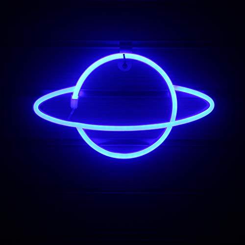 Insegne al neon del pianeta Insegna al neon a led al neon blu Luci al neon appese per da letto Camera dei bambini Ristorante Gioco Wall Art Sign Regalo Forniture per feste (11,8 '' × 7,1 '')