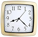 JUSTIME 8.5-inch Quality Square Water Resistant Quartz Wall Clock Special for Small Space, Office, Boats, RV (W40504 Gold Plate)
