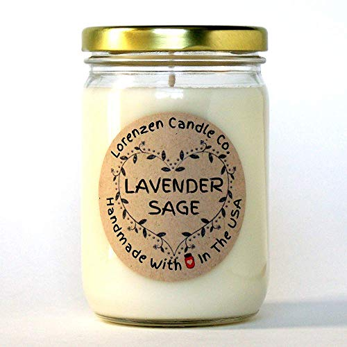 Lavender Sage Soy Candle, 12oz | Handmade in the USA with 100% Soy Wax