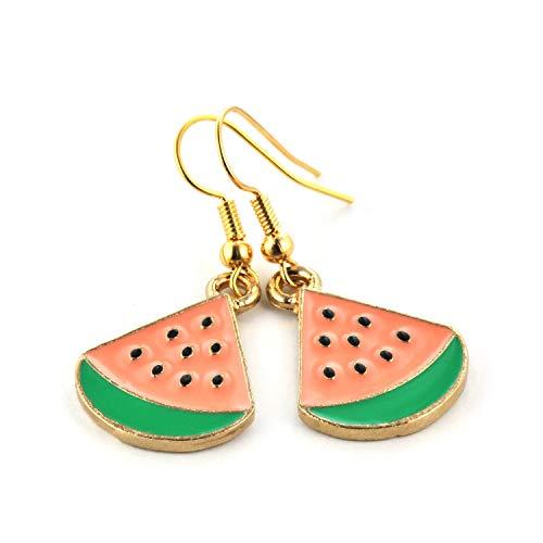 SCHMUCKZUCKER Damen Ohrhänger Melone Modeschmuck Ohrringe Gold-farben Apricot Grün