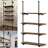 Yuanshikj 2Pc (56' tall 12'deep 3/4') Industrial Wall Mount iron Pipe Shelf Shelves Shelving Bracket Vintage Retro Black Open Bookshelf Bookcase DIY Storage office Kitchen (2 Pcs 4Tier Hardware only )