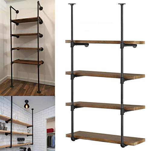 Yuanshikj 2Pc (56' tall 12'deep 3/4') Industrial Wall Mount iron Pipe Shelf Shelves Shelving Bracket...