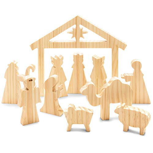 Bright Creations Small Wood Nativity Scene for DIY Crafts (11 Piece Set)
