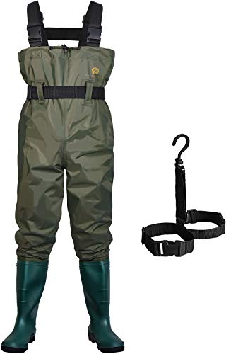 Mountalk High Chest Waders for Men with Boots, Womens/Mens/Youth Durable Waterproof Canvas Fly Fishing Waders with Boots- Use for Hunting, Waterworks