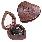 CLeader Lilium - Caja de música con movimiento musical de Elfen Lied Mini madera en forma de corazón regalos para cumpleaños, aniversario de Navidad (plata, nogal)