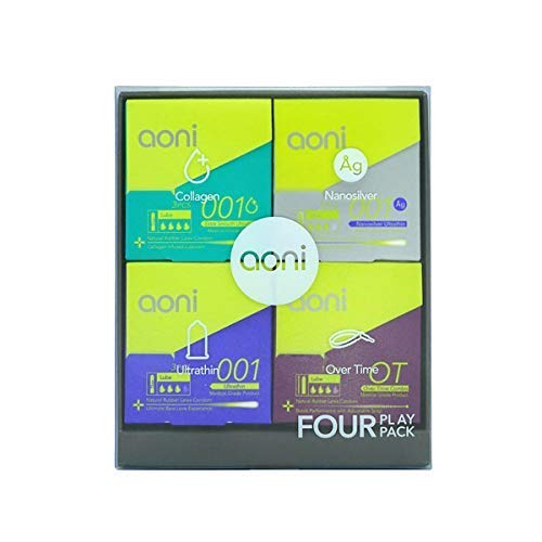 Aoni Condoms Value Pack - Four Play - Ultrathin 001 3 PCS, Nanosilver Ultrathin 001 3 PCS, Extra Smooth Ultrathin 001 3 PCS & Over-Time Combo 1 Set