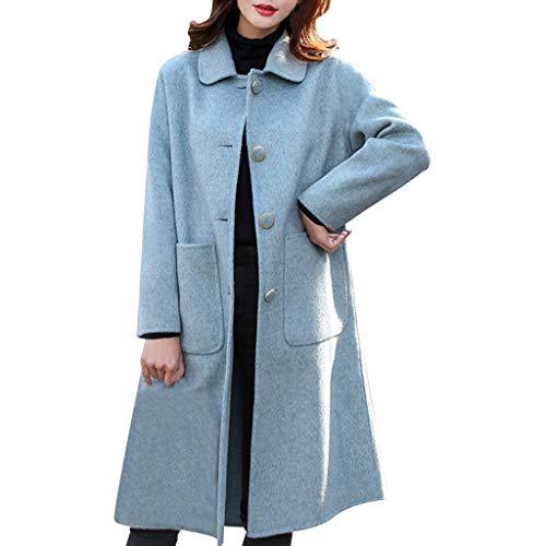 ZuzongYr Abrigo de mujer de manga larga, informal, con bolsillos, con botones, para el aire libre azul XXL