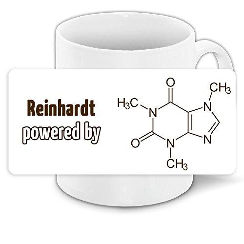Büro-Tasse mit Namen Reinhardt und schönem Motiv - Nr. 7 - mit Kaffee-Formel, für Kaffee-Junkies und Morgenmuffel