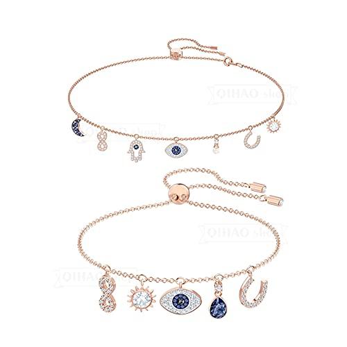YZQ Adorno, ojos de SWA, herradura, palma, borla de estrella y luna. Collar largo de perlas con clavícula, joyería de moda para fiestas (color metal: trajes)