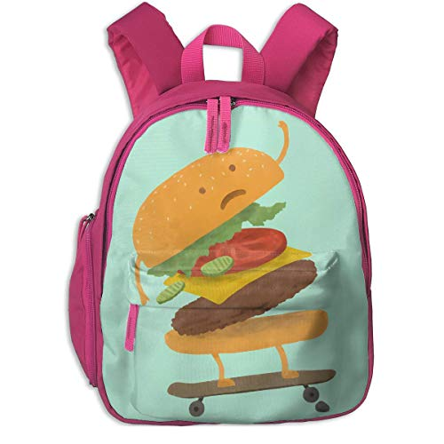 ADGBag Mochila para niños Children's Backpacks Burger Wipe-out School Backpack For 2-9 Years Old Pink