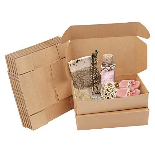 Kurtzy Cajas de Cartón Kraft Marrón (Pack de 20) – Medidas de las Cajas 19 x 11 x 4,5 cm - Caja Kraft Fácil Ensamblado Cuadrada Presentación - Cajitas para Regalos, Fiestas, Cumpleaños, Bodas