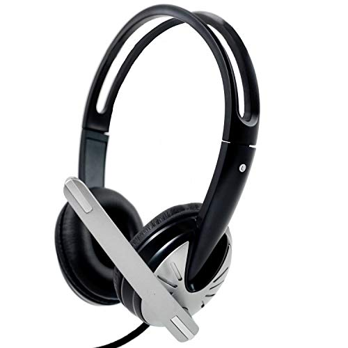 iMicro IMME282 USB Dual Headset with Adjustable Microphone Noise Cancelling and Volume Control, Wired Headphone for PC, Laptop and Computer