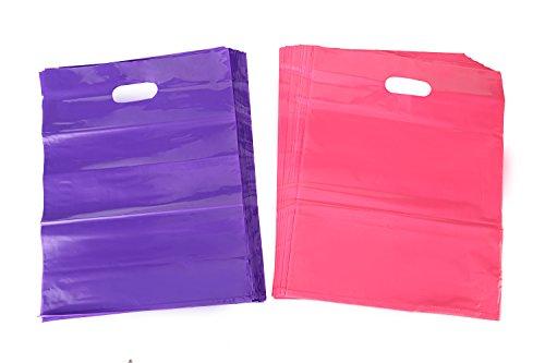 kivvo 200mercancía bolsas de plástico 12x 15, color rosa y morado (al por menor bolsas de la compra con mango de troquelado