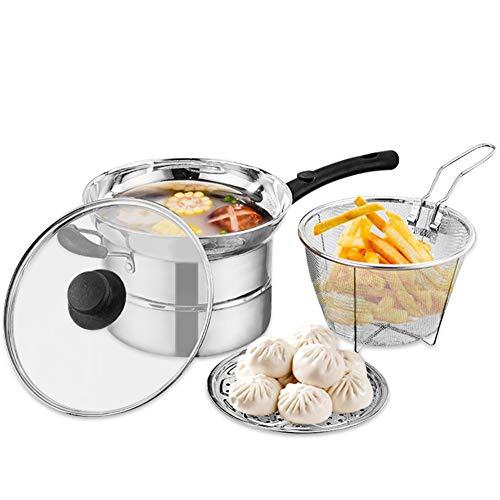 Poêle à friteuse profonde en acier inoxydable, compatible avec induction - Panier à friteuse et couvercle - Grande cuisine free size Silver