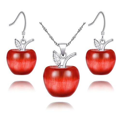 Conjunto de collar y pendientes para mujeres niñas lindo conjunto de joyas para maestra mamá YL007