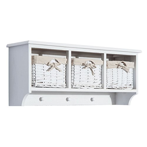 HOMCOM 32 Rustic Floating Shelf with Coat Hooks and Baskets - Antique White