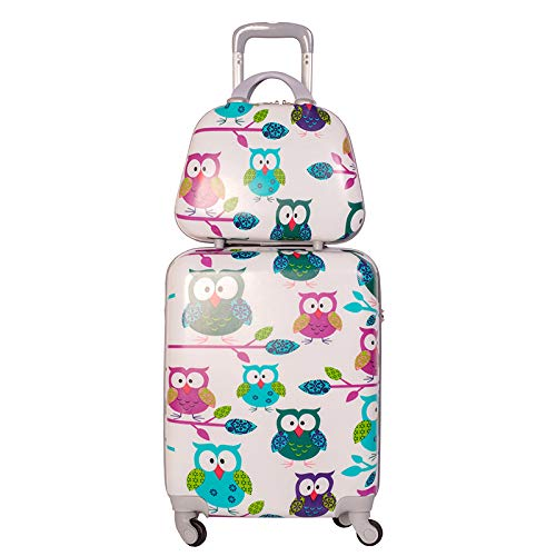 Pack maleta cabina más neceser Búhos, Maleta 55x40x20 cm y Neceser 33x26x13 cm
