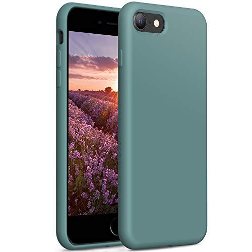 YATWIN Compatibile con Cover iPhone SE 2020 4,7'', Compatibile con Cover iPhone 8 e iPhone 7 Silicone Liquido, Protezione Completa del Corpo con Fodera in Microfibra, Verde Pino