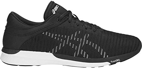 ASICS T835N Men's FuzeX Rush Adapt Running Shoe, Black/White/Dark Grey - 12.5