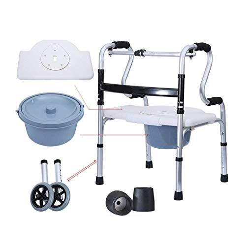 Andador Rollator Ducha con orinal Silla con la mina for silla de transporte de tercera edad plegable Andador Walker con 2 ruedas Andador con asiento tirón, ayuda a la movilidad for mayores bariátrica