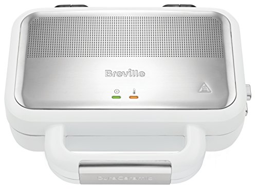 Breville VST074X DuraCeramic - Sandwichera con revestimiento, 850 W, acero inoxidable, platos desmontables, Color Blanco