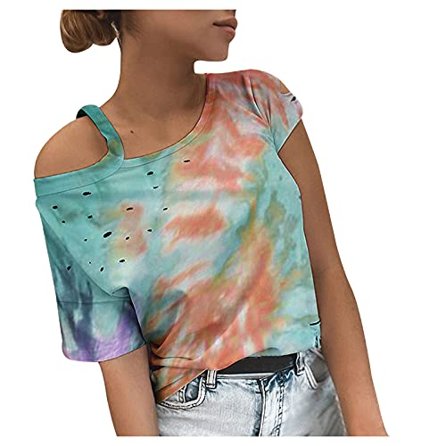 YANFANG Blusa con Hombros Descubiertos,Blusa De Camiseta Un Hombro Sexy Color SóLido Verano para Mujer,Elegantes Moda Vintage Jacquard Suelta Talla Grande Blusas Superior Camisas,3-Verde,XL