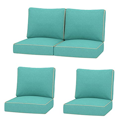 Creative Living 4PC Chat 24x24 Outdoor Deep Seating Patio Replacement Cushions, Teal Blue