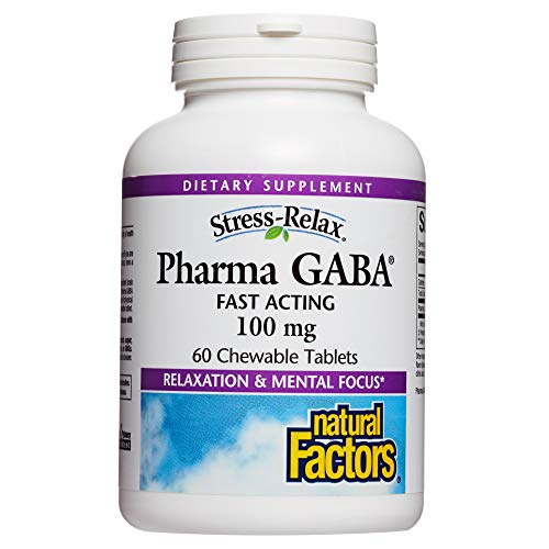 Stress-Relax Chewable Pharma GABA 100 mg by Natural Factors, Non-Drowsy Stress Support for Relaxation and Mental Focus, Tropical Fruit Flavor, 60 tablets (30 servings)