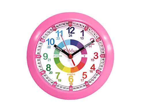 Kiddus Reloj de Pared Infantil para Niñas y Niños - Time Teacher Analógico Relojes para Aprender a Decir la Hora con Nuestro Fácil Sistema - Ejercicios Educativos Incluídos - Mecanismo Silencioso