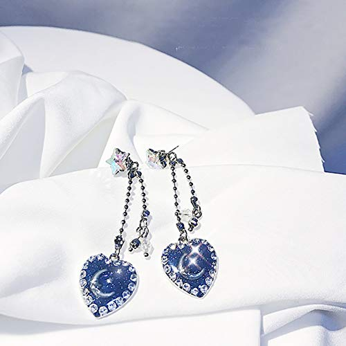 JINGM Vintage Moon Star Heart Boucles d'oreilles pour Les Femmes À La Mode Strass Planète Longue Gland Bijoux Cadeaux