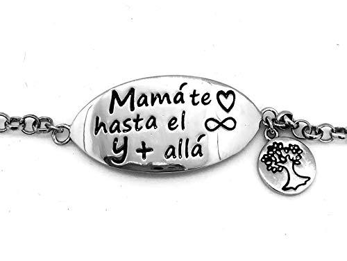 Thäiba Bijoux Pulsera Plata 925 Mamá, Te Quiero mamá, te Quiero hasta el Infinito y más allá.