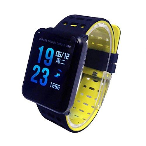 YANGFH Smart Armband N88 Herzfrequenz Blutdruck WeChat Informations Telefon Display IP68 Wasserdicht Smartwatch (Color : Black)