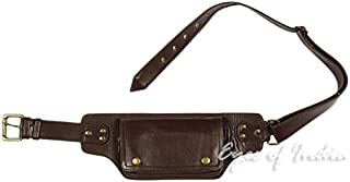Eyes of India - Brown Leather Belt Bum Waist Hip Bag Pouch Fanny Pack Utility Pocket Travel