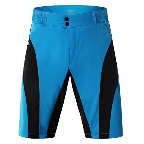 Pantalones Cortos De MTB para Hombres,Ligero Secado Rápido Transpirables Sueltos Culotte Ciclismo,para Montaña Deporte Exteriores(Size:L,Color:Azul)