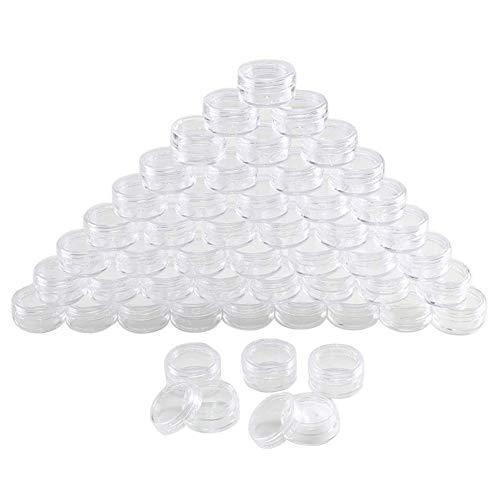 JHCHA 100 Stück 5 ml transparente Kunststoff-Töpfe, Kosmetikbehälter, Probenbehälter, Mini-Flaschen