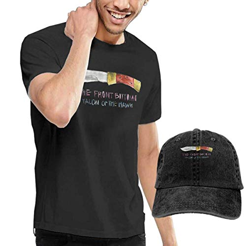 Thimd Herren T-Shirt und Kappe Schwarz, The Front Bottoms Talon of The Hawk T Shirt and Washed Denim Baseball Dad Hat Black