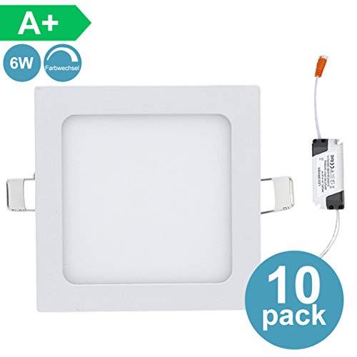 10X 6W Eckig LED Panel Leuchte Flach Einbauleuchten mit Trafo Panellampe 3 in 1 Farbwechsel 3000-6500K Deckenleuchte Einbauleuchte [Energieklasse A+]