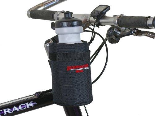 Bushwhacker Shasta Black - Insulated Bike Water Bottle Holder w/ 20 oz. Bottle - Two Point Bike Frame & Handlebar Attachment w/Belt Loop No Screws Hardware Required