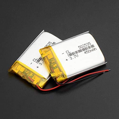 RFGTYH Batería de polímero de Litio de 3,7 V 052535 502535 baterías Recargables de Li-Po para MP3 MP4 MP5 DIY Regalos/Juguetes Auriculares Bluetooth 450MAH 2Pcs