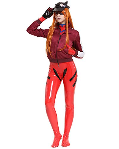 Cosplay.fm Women's Asuka Langley Sohryu Alter Costume Red Jersey Cap Cosplay Bodysuit with Jacket and Hat (L, Red)