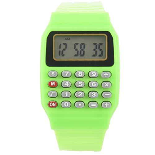 Mefeny Reloj electrónico de silicona para niños y niñas, con pantalla de fecha, multifunción, calculadora, para niños, color verde