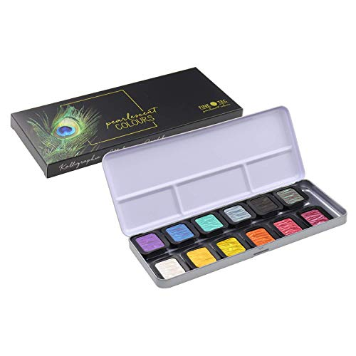 Finetec F1200 12 Opaque Pearlescent Paints, Diameter 30 mm, in Metal Case