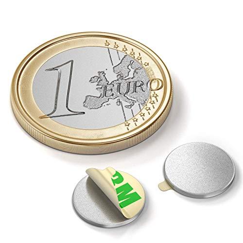 Magnastico Neodym Scheibenmagnete Selbstklebend 10 Stück N35 Klebemagnete Flach Rundmagnet zum Kleben (13 x 2 mm)