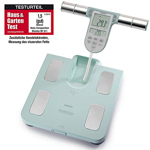 OMRON BF511 Clinically Validated Full Body Composition Monitor with 8 high-precision sensors for hand-to-foot measurement - Turquoise