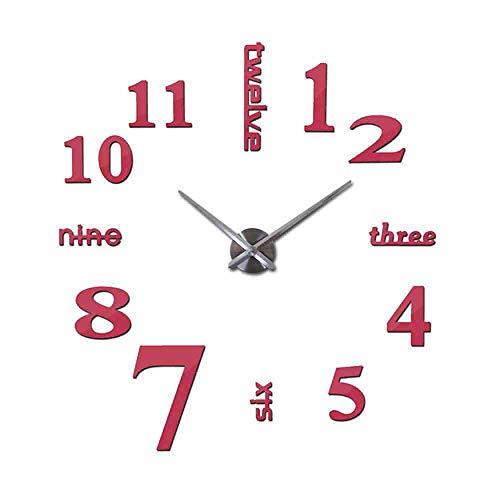 JPDP Venta caliente 3D Reloj de pared Acrílico Espejo Diy Relojes Dormitorio Reloj de pared Grote Wandklok Diseño moderno Sala de estar,Pink