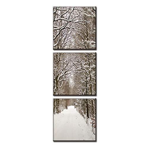 XKA Tríptico 3 Unids/Set Arte En Lienzo Snowy Boulevard Impresiones En Lienzo Formas Verticales Cuadros De Pared para Sala De Estar Sin Marco